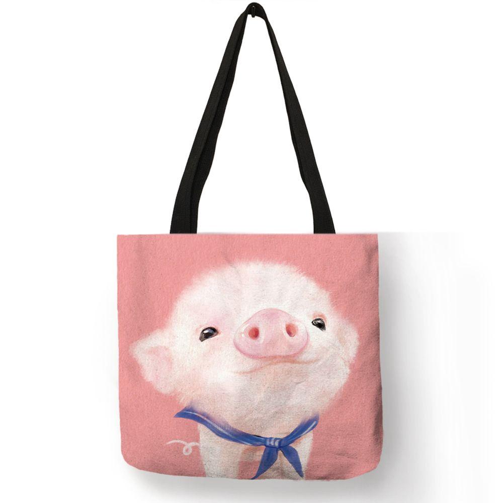 d9d324a6b86 Designer Cartoon Design Hand Bag Cute Animal Pig Rabbit Cat Printing Tote  Bag Eco Linen Fabric Reusable Casual Shoulder Bag Leather Goods Branded Bags  From ...