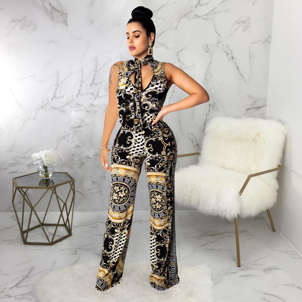 Digital Printed Jumpsuits For Women Summer Clothing Sexy Black Nightclub Wearing Full Length Apparel