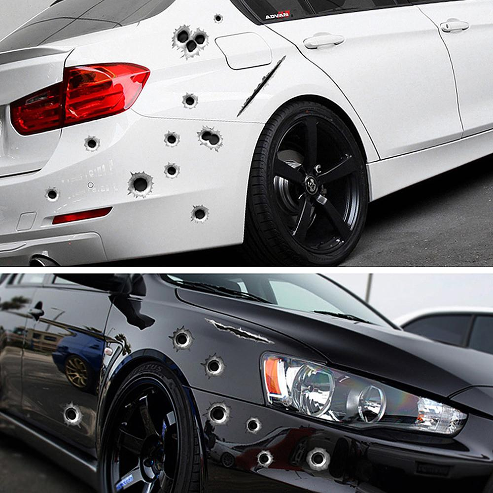 Car stickers 3d bullet hole funny decal car covers motorcycle scratch realistic bullet hole waterproof stickers online with 1 1 piece on topprettymalls