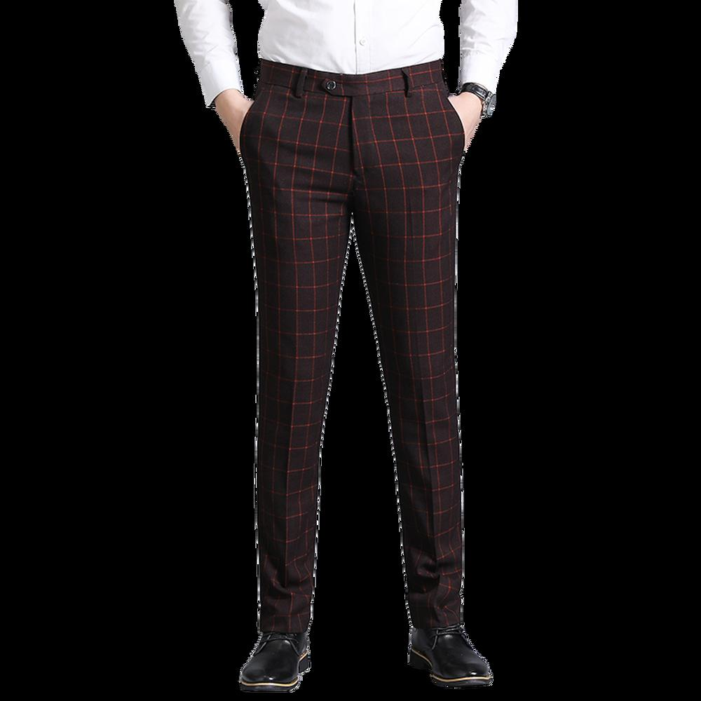 Plaid Trousers Men's Suit Pants Slim Fit Classic Business Casual Male Soft Pants Fashion Straight type Large Size 29-36 38