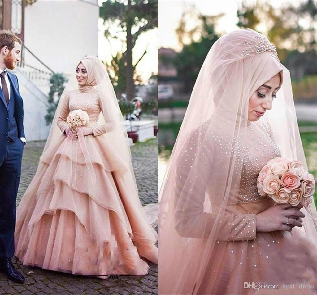 Country Style Luxurious Arabic Plus Size Muslim Colorful Wedding Dresses Bridal Gowns Tiers Beaded Abendkleider Vestido De Novia