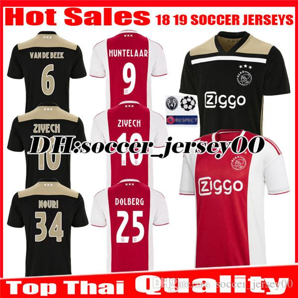 699df929f05 2019 2018 2019 Ajax SOCCER JERSEY 18 19 DOLBERG Home Away ZIYECH KLAASSEN  MILIK HUNTELAAR NOURI Black Raw Gold Jerseys Uniforms Football Shirt From  ...