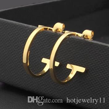 2019 Famous Designer T stamp Fashion Stud Earrings 18K Gold plated 3 colors 316L stainless steel for weddings gifts Wholesale Price
