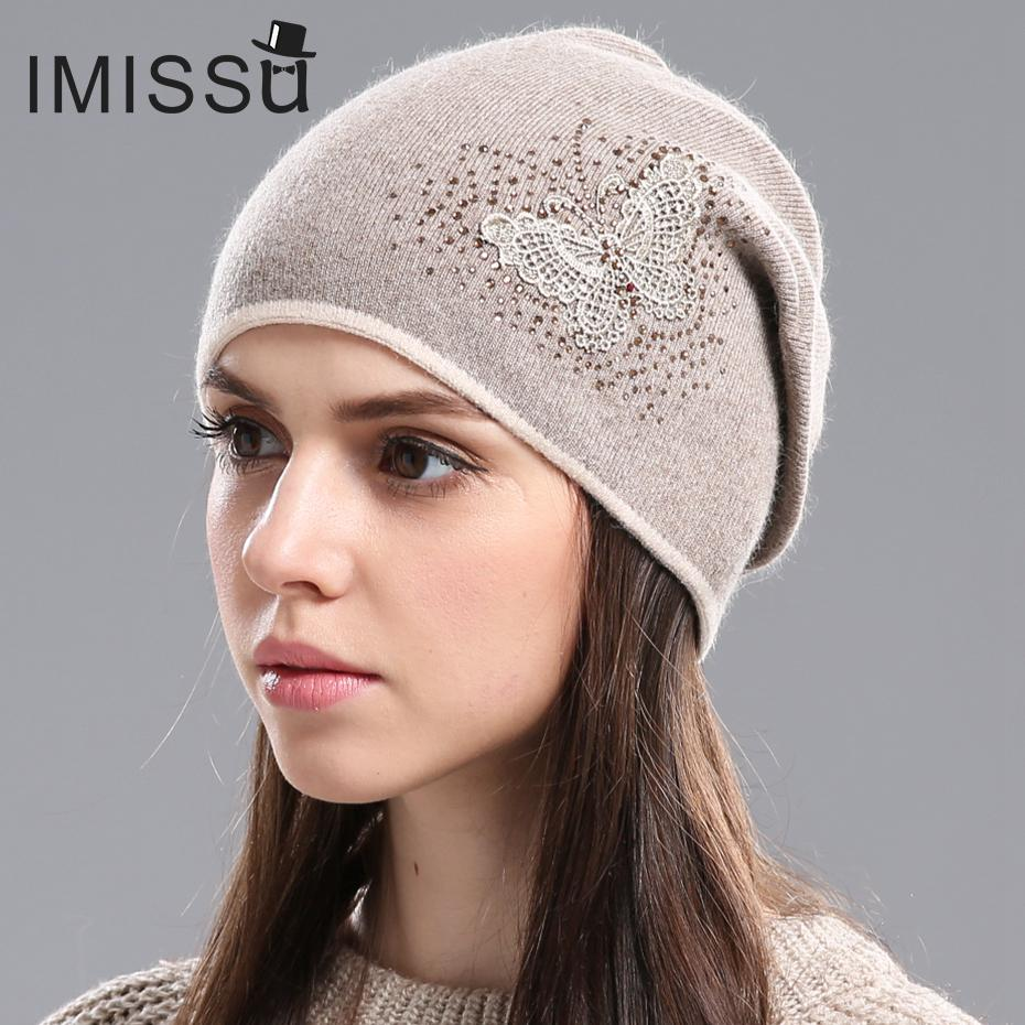 Imissu Women S Winter Hats Knitted Real Wool Skullies Casual Cap Beanie With Butterfly Pattern Solid Gorros Bonnet Femme Hats For Women