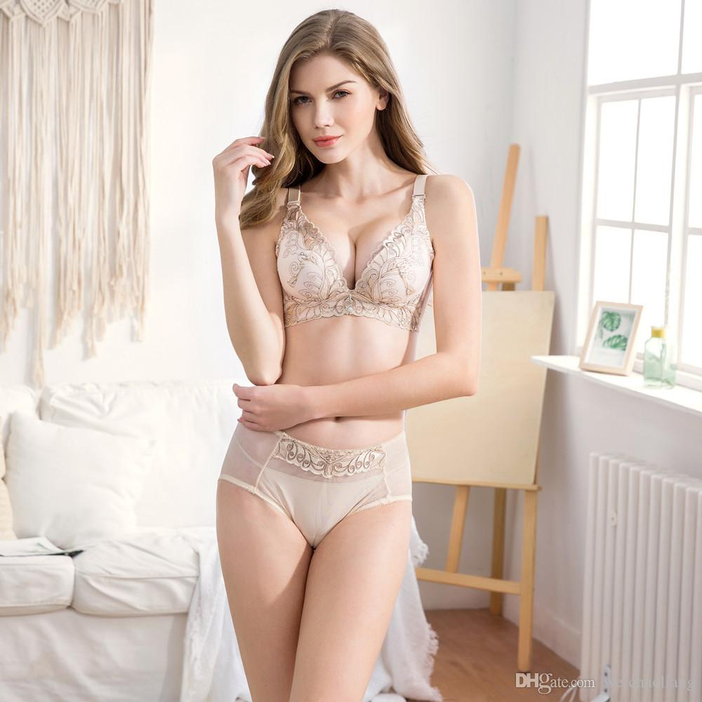 High-end embroidery body gathering adjustment type large size receiving vice milk ladies underwear no steel ring bra set