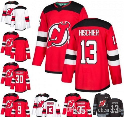 sports shoes e540b eb94a 2019 men Hischier New Jersey Devils Jersey 9 Taylor Hall 13 Nico Hischier  30 Martin Brodeur 35 Cory Schneider Hockey Jerseys