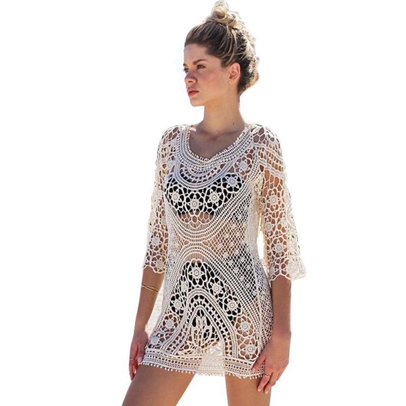 19684a84873e Playa cubrir crochet Traje de baño Mujer vestido de playa túnica pareo para  mujer traje de baño encubrimientos saida de praia robe plage