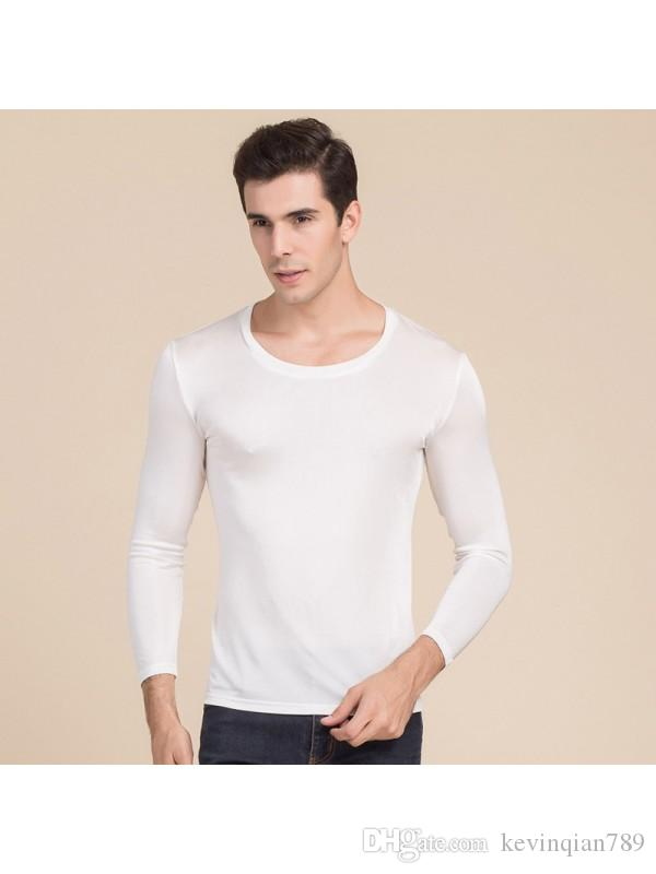 5ff083d63d7ca5 Men's Silk Basic Thermal Underwear 100% Natural Silk Scoop Neck Long  Sleeves Long Johns Top only Size L XL XXL