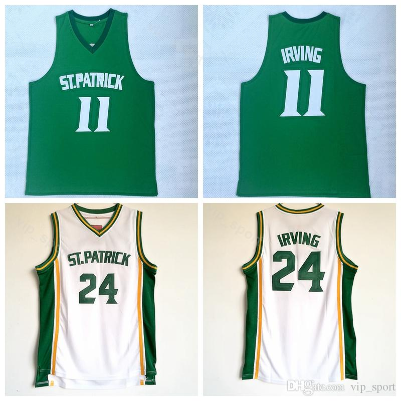 new concept ef0b0 a0691 ST Patrick Kyrie Irving Jersey 11 High School College Green White Kyrie  Irving Basketball Jerseys 24 Uniform Team Breathable University