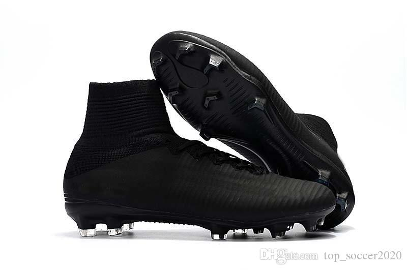 premium selection 5d4c1 0ce56 Best Quality All Black Soccer Cleats Mercurial Superfly V TF/IC FG CR7  Football Boots Mens/Kids/Womens Soccer Shoes