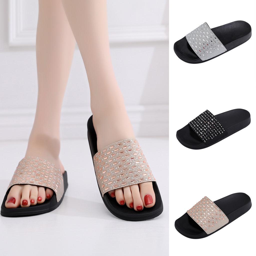 55a7b45916c8c 2019 Women's Slippers Summer Beach Casual Shoes Sequins Flat Heel Soft  Slipper Non-Slip Rhinestone Shoe Mujer Slides Outdoor
