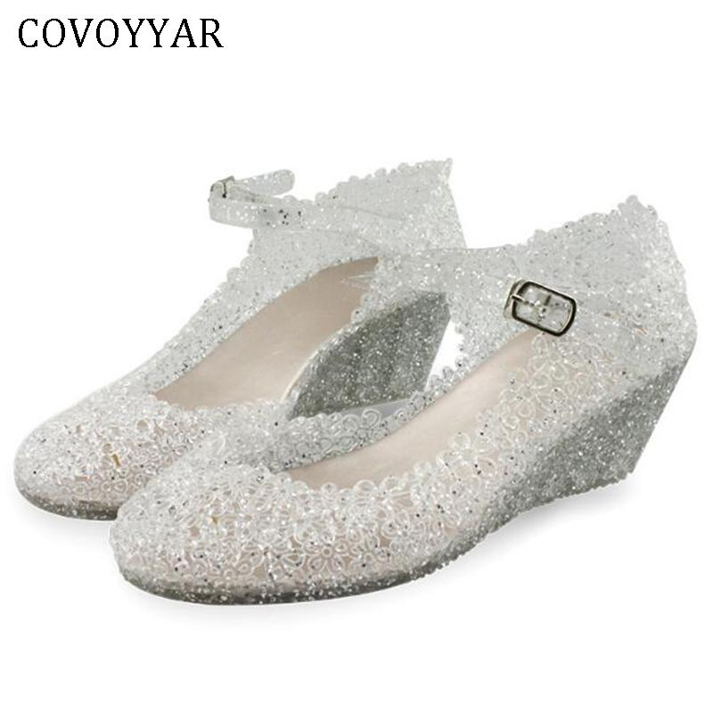 23c9660949c62c Covoyyar 2019 Jelly Mary Jane Women Shoes Ankle Strap Sandals Wedge Heel  Female Pumps Summer Cut Out Glitter Rubber Shoes Whh130 Mens Shoes Loafers  From ...