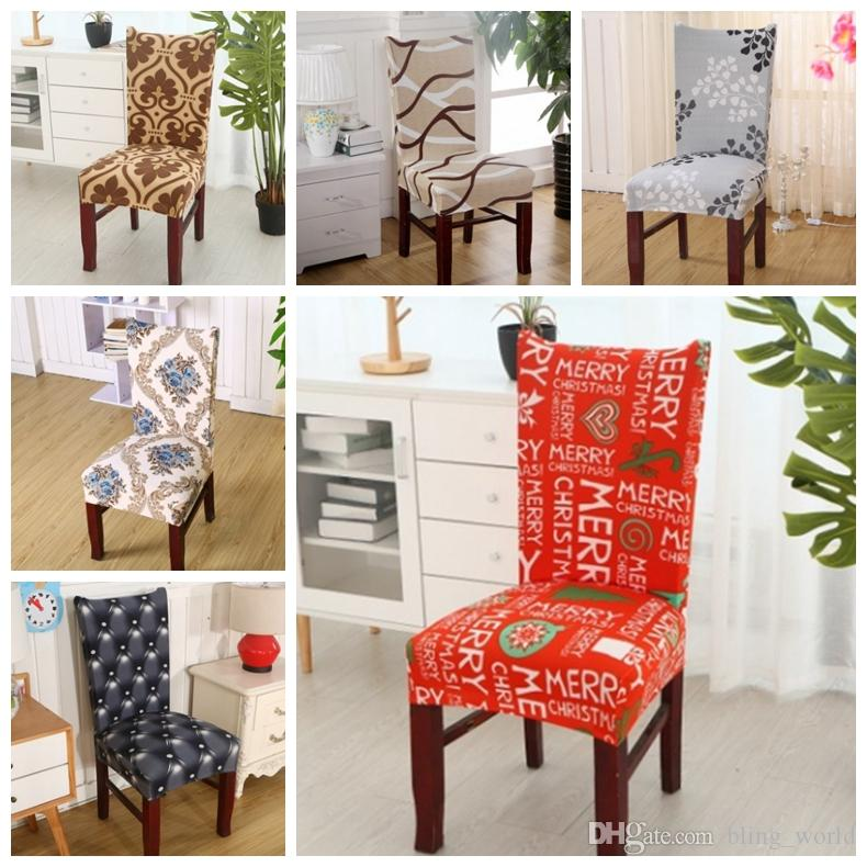 Chair Covers Removable Cover Stretch Dining Seat Elastic Slipcover Christmas Banquet Wedding Decor 37 Designs Optional YW1820 For