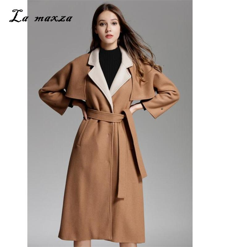 Frauen Winter Wolle Lange Cape Mantel 2018 Vintage Elegante Mode Koreanischen Stil Winter Frauen Kamel Cape Mantel