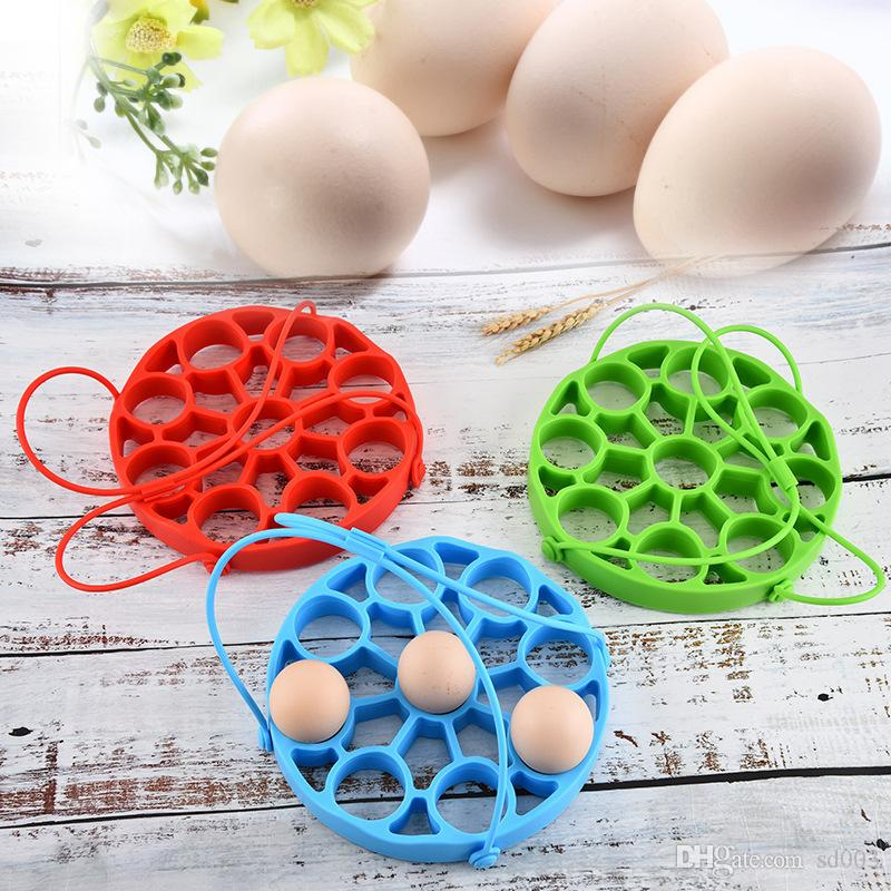 Multi Functions Steamed Egg Rack Kitchen Silicone Hand Hold Vegetable Steamer Green Detachable Eggs Steamers Hot Selling 15cs L1