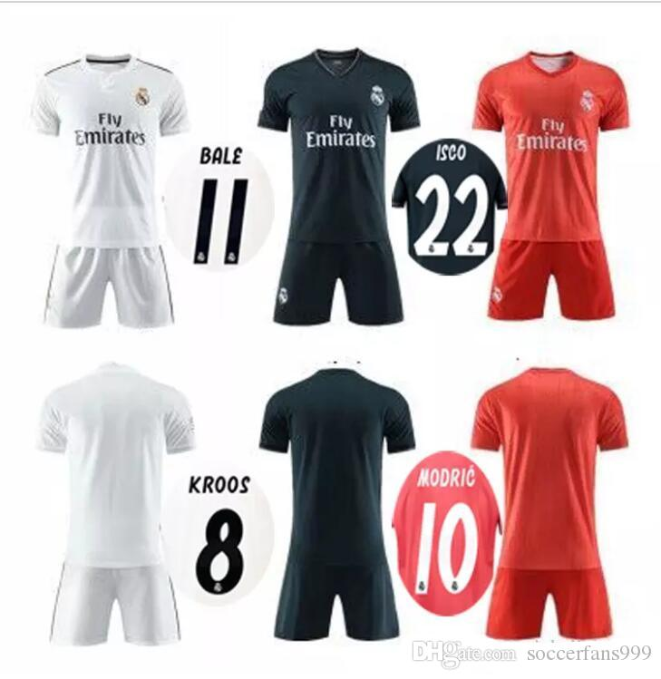 e29add2d7 18 19 Real Madrid Home Away Soccer Jersey Men Kits 2018 2019 ...