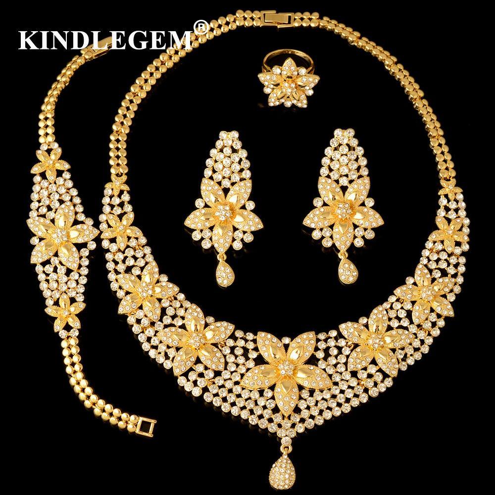 0c7079791e8d Compre Alta Moda Dubai Joyería Conjunto Cristal Flor Color Oro Nigeriano  Boda Nupcial Perlas Africanas Joyería Parure Bijoux Femme A  57.23 Del  Cring002 ...