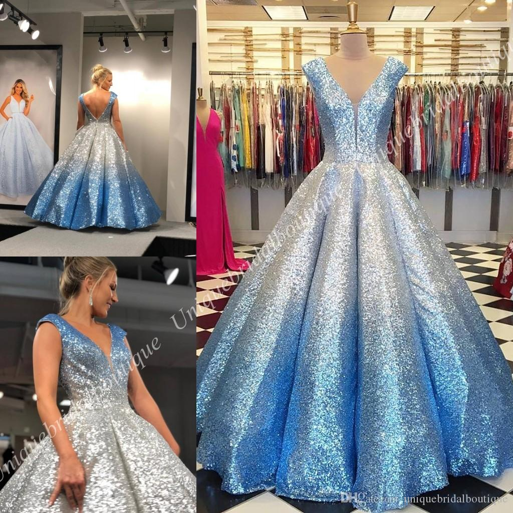 bef7fbd93f5 Ombre Prom Dresses 2019 Ball Gown V Neck Cap Sleeves Quinceanera Draped  Skirt Backless Formal Party Event Gowns Mother Daughter Gowns Short Evening  Dresses ...