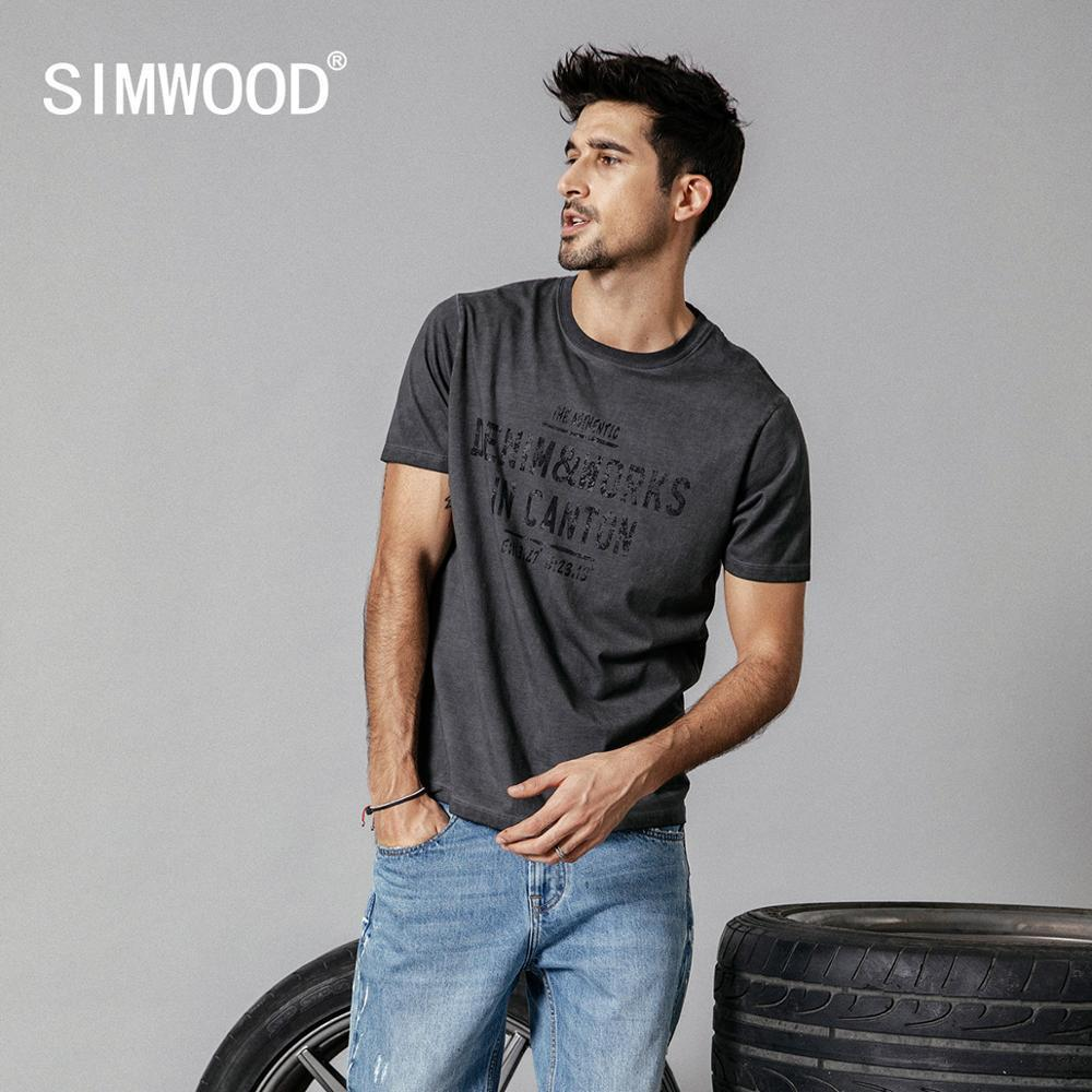 Simwood 2019 Summer New T-shirt Men Vintage Washed Letter Print Hip Hop T Shirt Male Streetwear Tops Plus Size Clothes 190249 Y19072001