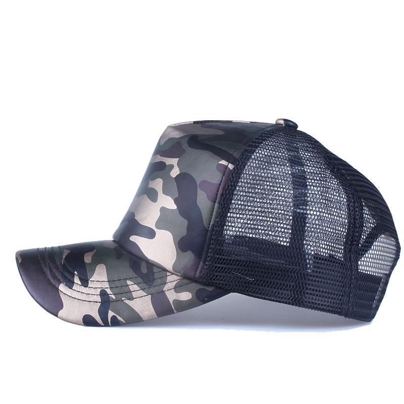 64093a53548b Moda 5 Paneles Gorra de béisbol de verano Gorra de malla Sombrero de  imitación de cuero Camuflaje Snapback Hombres Hip Hop Casquettes Sombreros  para ...