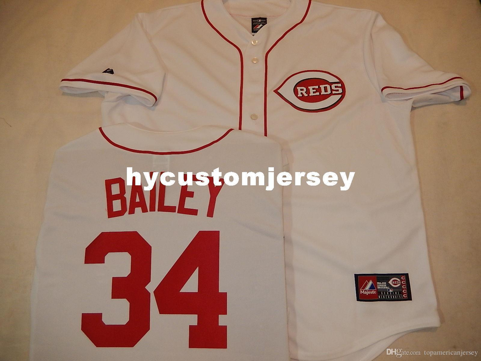 Cheap custom MAJESTIC #34 HOMER BAILEY Baseball Sewn JERSEY WHITE New Mens stitched jerseys Big And Tall SIZE XS-6XL For sale