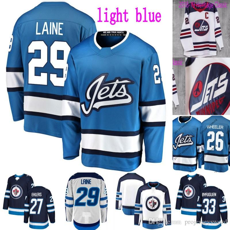 timeless design a8da6 8d762 Winnipeg Jets Third Jersey 26 Blake Wheeler 27 Nikolaj Ehlers 29 Patrik  Laine 33 Dustin Byfuglien 55 Mark Scheifele Ice Hockey Jerseys