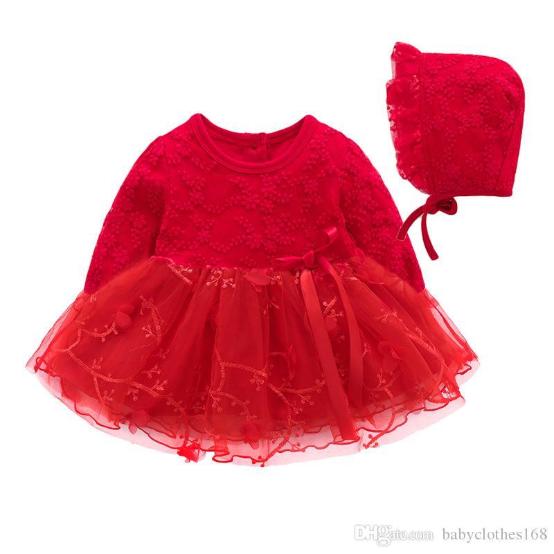1856ee5e29c76 Acheter Enfant En Bas Âge Fille Robe De Bal Baptême Robes Grand Rouge Nouveau  Né Bébé Fille Vêtements Manches Longues Printemps Automne Robe En Dentelle  De ...