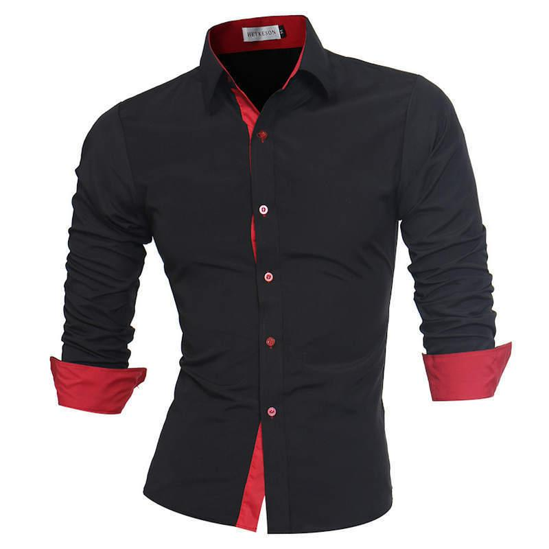 Men Shirt Brand 2019 Male High Quality Long Sleeve Shirts Casual Slim Fit Black Man Dress Shirts Plus Size M-4xl