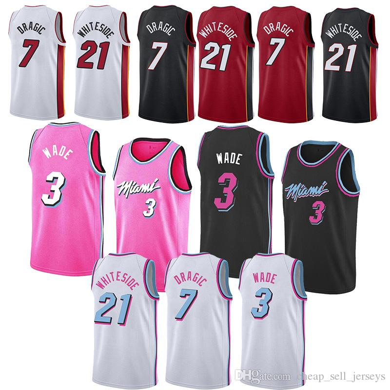 a8a0ac4ab10 2019 Miami Jersey Heat Dwyane 3 Wade Hassan 21 Whiteside Basketball Goran 7  Dragic 21 Whiteside Men Heat Jerseys Basketball Jersey Men From ...