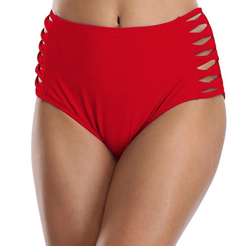a565418ac650 Pantalones cortos de bikini de cintura alta para mujer traje de baño Shorts  Hollow Out Traje de baño Ropa interior Tallas grandes Mujeres Natación ...