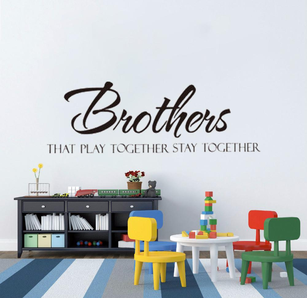 Brothers Stay Together Quote Wall Stickers Boy Kids Room Sticker Vinyl Home Decor Modern Wall Tattoo English