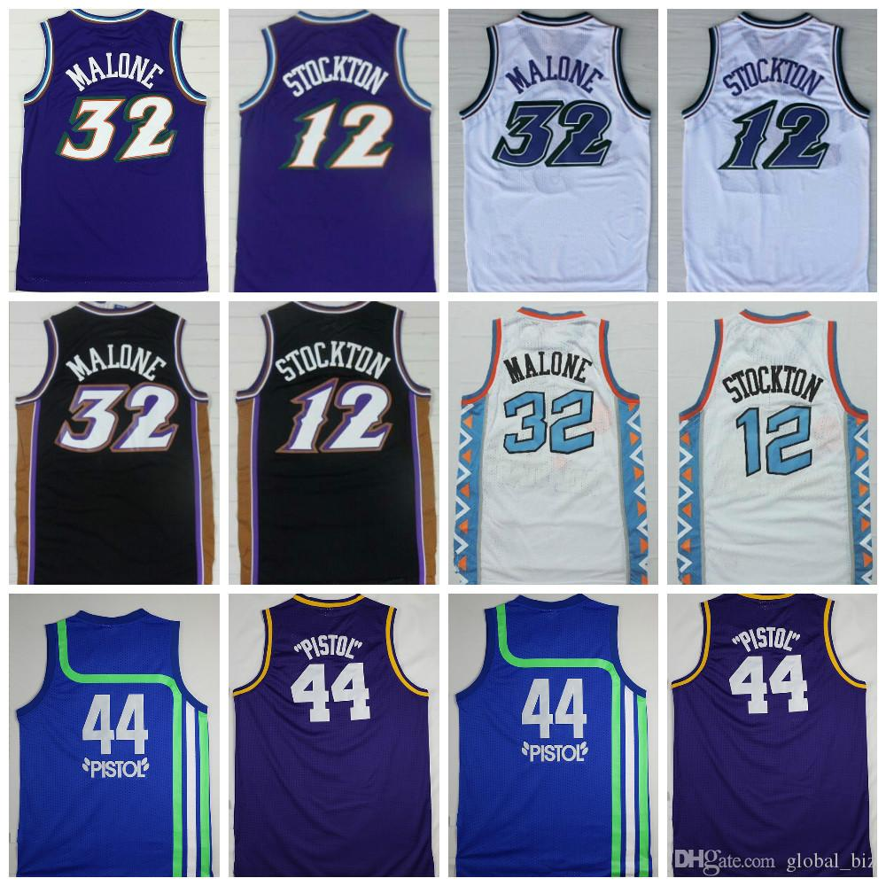 pretty nice 67c80 50e07 Top Quality 32 Karl Malone Jersey 12 John Stockton Jersey 44 Pistol Pete  Maravich Jerseys Purple White Black Stitched Logos