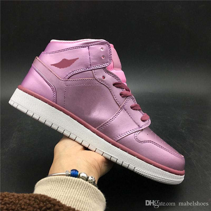 b3b040fd3bca Sakura Pink Mid SE GS Women Basketball Shoes 2019 Upper Leather New ...