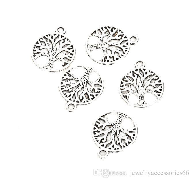 100pcs / Lot Vintage Argento Tibetano Tree of Life Pendenti di fascini 24mm Charms per monili che fanno collana del braccialetto di DIY