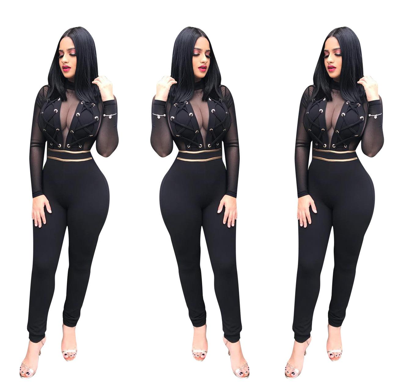 70d09ea579ed 2019 Women Club Sexy Jumpsuit Luxury Grenadine Long Sleeve Romper Designer  Clothes Plus Size Bodysuits Womens Clothing From Hengda999