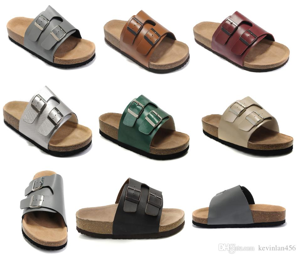 2b5943ceac8 Genuine Leather Slippers Mens Flat Sandals Women Shoes Double Buckle  Fashion Design Arizona Summer Beach Top Quality With Orignal Box Leather  Slippers Mens ...