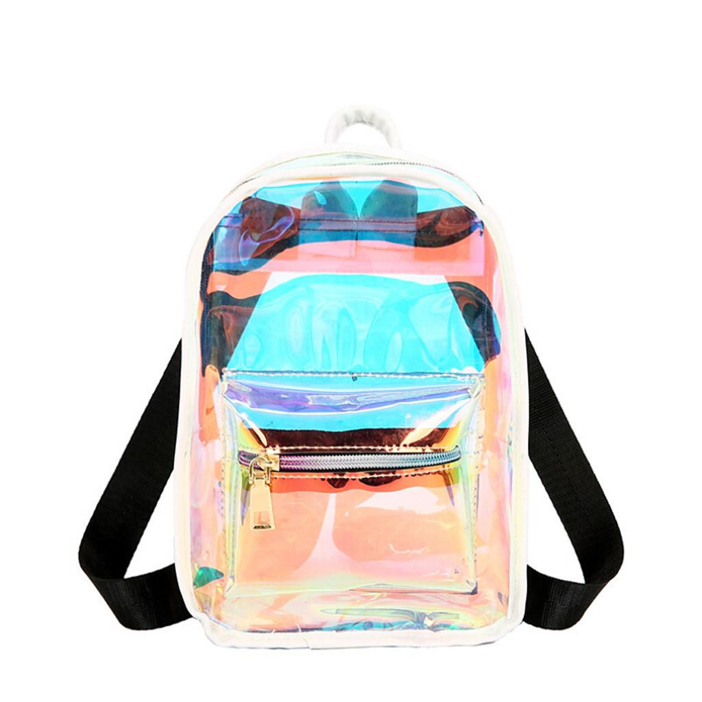 1Women Backpack Laser Clear Transparent Jelly Outdoor Candy Colorful Waterproof Backpacks Travel School Bags For Teenage Girls#40