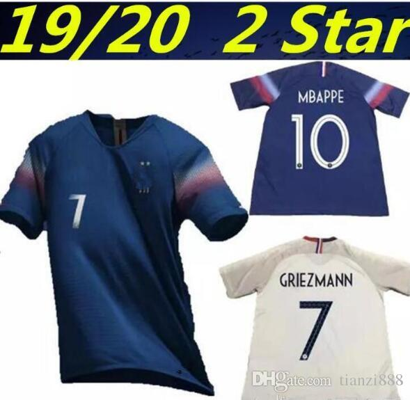 ff96bfa76 2019 New 19 20 2 Stars World Cup Jersey GRIEZMANN MBAPPE POGBA Home Away  Blue And White Soccer Jersey Two Stars DEMBELE MARTIAL Football Shirt From  ...