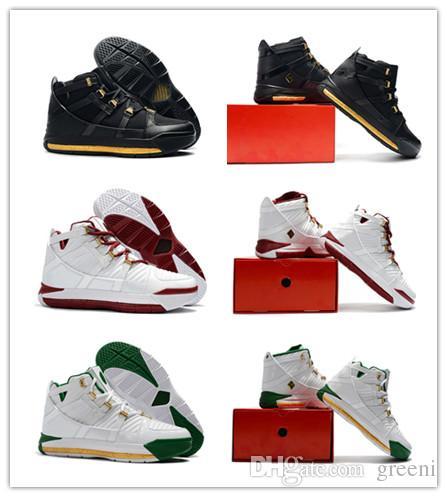 0c00092de662 2019 2019 New Zoom LeBron 3 Metallic Gold Black Men Basketball Shoes Jame 3  QS SVSM Home LB 3s China Edition White Mens Designer Trainer From Greeni