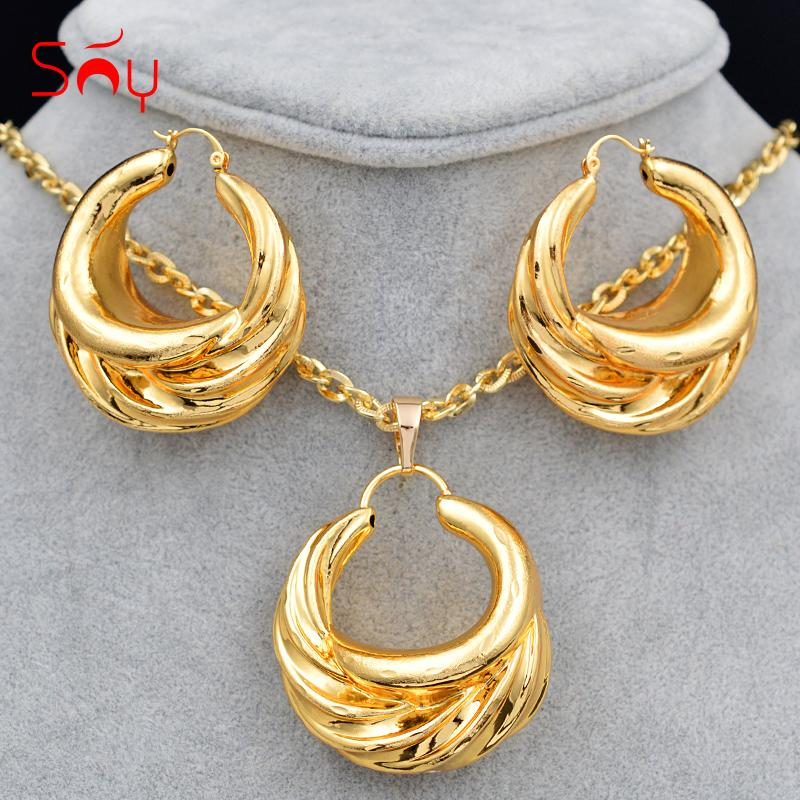 Sunny Jewelry Hot Selling Big Jewelry Set For Women Earrings Pendant Necklace Copper For Party Classic Findings
