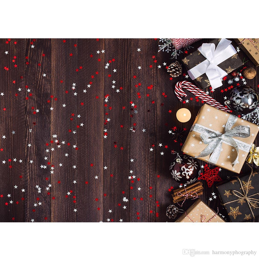 Wooden Board Christmas Stars Gifts Photography Backdrop Vinyl Background Photo Studio for Children Baby Photophone Photobooth