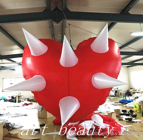 large hanging wedding balloon inflatable heart shape model lights for party/ event / stage