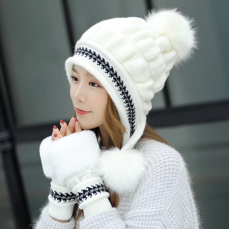 19382baca18 Winter Hats For Woman New Knitted Three-ball Jacquard Gloves Plus ...