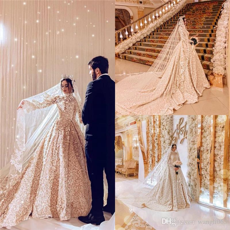 c53aed135b0 Discount Luxurious Arabic Muslim Wedding Dresses 2019 3D Floral Flowers  High Neck Long Sleeve Bridal Gowns Conservative Wedding Gowns Dress Dresses  From ...