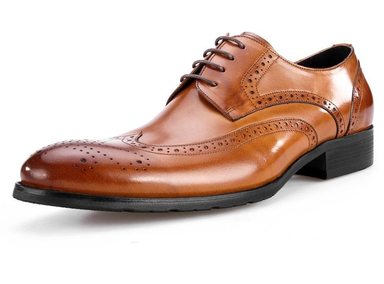 Falarge Size EUR45 Brown Tan / Black / Brown Oxfords Boys Prom Shoes Genuine Leather Dress Shoes Mens Business Shoes