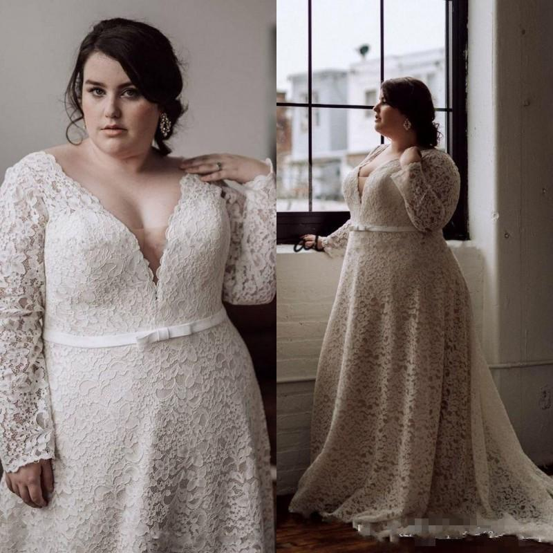 82cd8df1cde Discount Modest Plus Size Wedding Dresses 2019 Long Sleeves V Neck A Line  Court Train Full Lace Bridal Gowns For Big Women Sexy Wedding Dress Vintage  ...