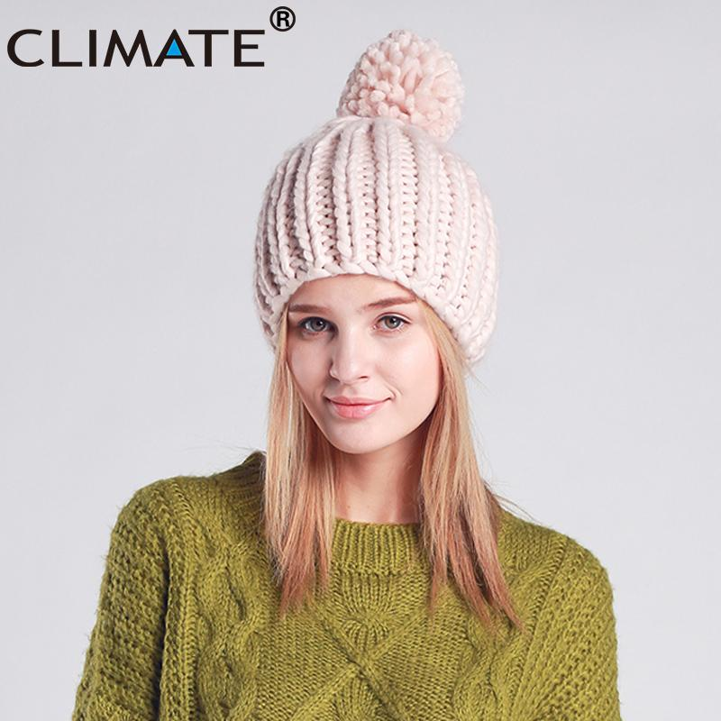 25918e2e80e CLIMATE Women Fashion Winter Hat Warm Pompom Hat Beanie Women Pompon Nice  Knitted Warm Winter Beanie For Girls Lady Trilby Mens Hats From  Clintcapela