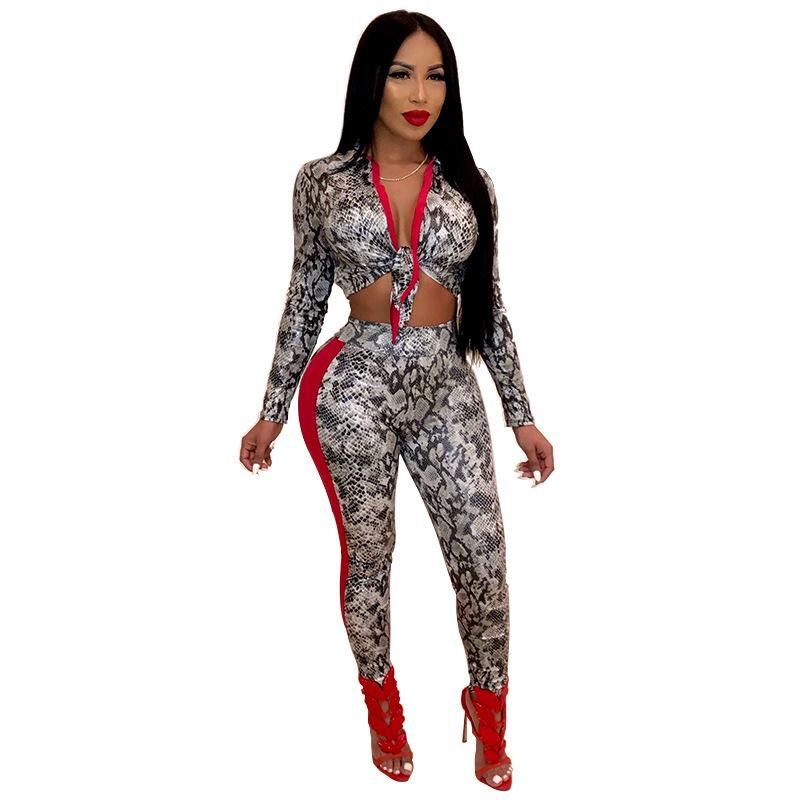 f49a2060188cb Fashion Two Pieces Snakeskin Print Overalls Long Sleeve Sexy Body ...