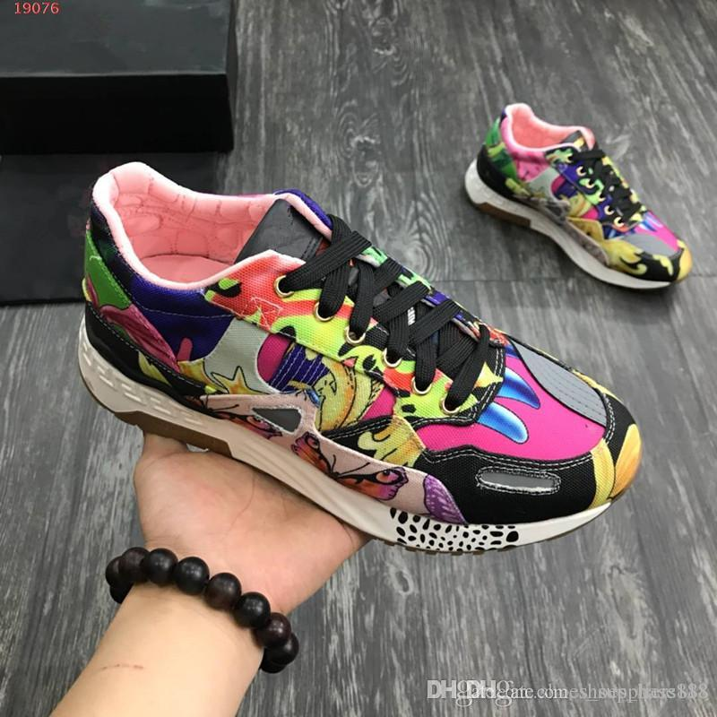 2019 new designer denim men Shoes floral prints patchwork casual shoes comfortable outdoor leather outsole come with box size 38-47