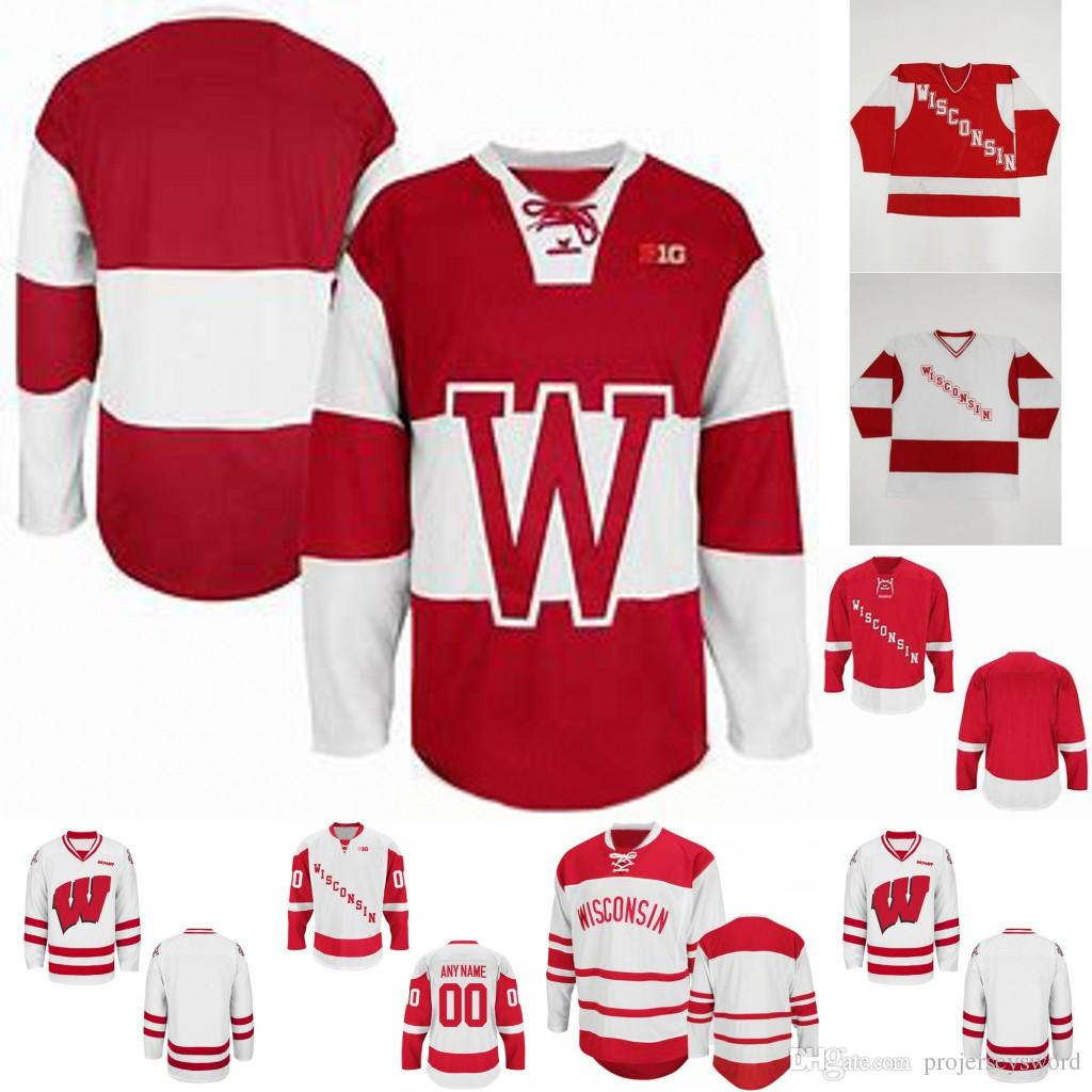 various colors 95046 a53ae 90s KSA Mens NCAA Wisconsin Badgers University College Cardinal cusotm Any  any name any numbe Hockey Jerseys White Red